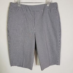 Chico's Blue White Gingham Bermuda Shorts Size 0